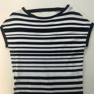 Navy and White Striped LOFT Shortsleeved Knit Top